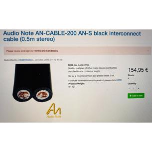 Audionote interconnect cable an-s 200 2x1 metre